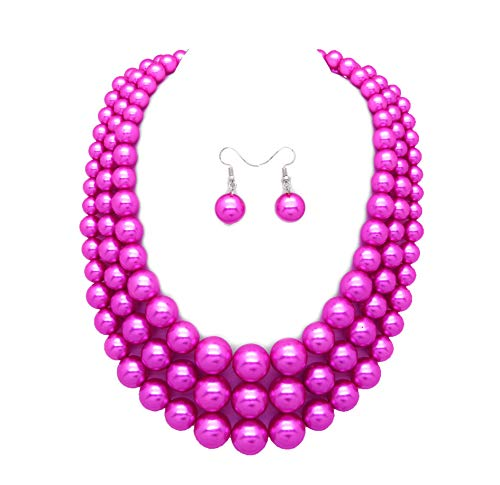 - Women's Simulated Faux Three Multi-Strand Pearl Statement Necklace and Earrings Set (Fuchsia)