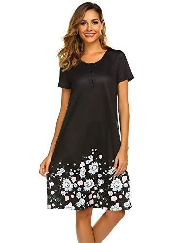 Ekouaer Nightgown for Women Soft Sleepwear Nightwear Dress Casual Night Dress Petite Nightgowns ()
