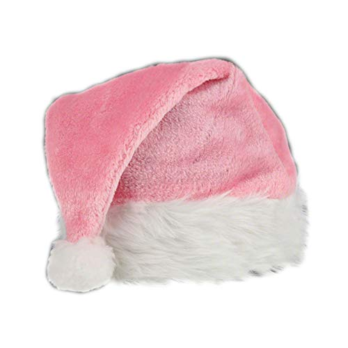 blinkee Pink Stylish Fluffy Fur Santa Christmas Plush Hat