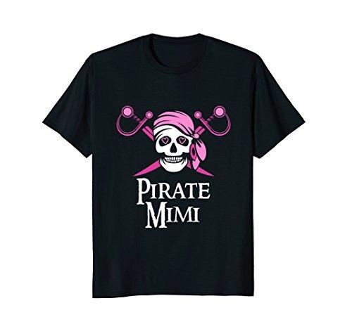 Pink Pirate Mimi Jolly Roger Skull T-Shirt ()