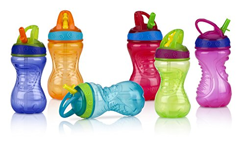 Nuby 2-Pack Flip-It Easy Grip Cups with Easy-Flo Straw, 10 Ounce, Colors May Vary