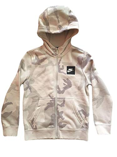 Zip Jacket Full Kids - Nike Boys Camo Club Full Zip Hoodie (Platinum Camo, Small 8-9 Years)