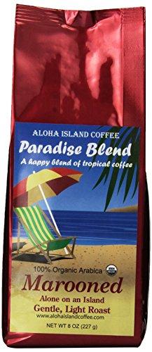 Aloha Island Coffee Marooned, Light Roast Certified Organic Coffee, Whole Bean, 8 Ounce Package