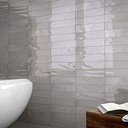 Manhattan Carrelage Mural En Ceramique Italien Blanc Gris Noir Brillant 7 5 X 30 Cm Pour Cuisine Salle De Bain Salon Blanc Amazon Fr Bricolage