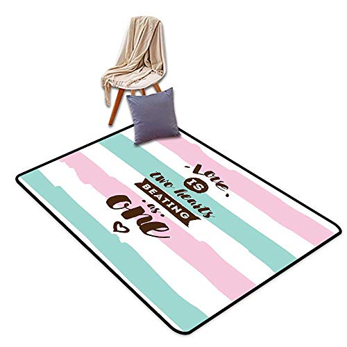 Girl Bedroom Rug Romantic Love is Two Hearts Beating Valentines Typography on Pastel Color W55 xL79 Suitable for Restaurants,Family Rooms,corridors,foyers.