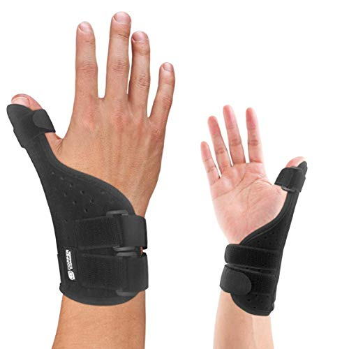 (Copper Compression Long Thumb Brace - Guaranteed Highest Copper Thumb Spica Splint for Arthritis, Tendonitis. Fits Both Right Hand and Left Hand. Wrist, Hands, and Thumb Stabilizer and Immobilizer )