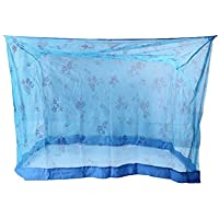 Shahji Creation Cotton Printed King Size Bed Blue 6X7 Feet Mosquito Net