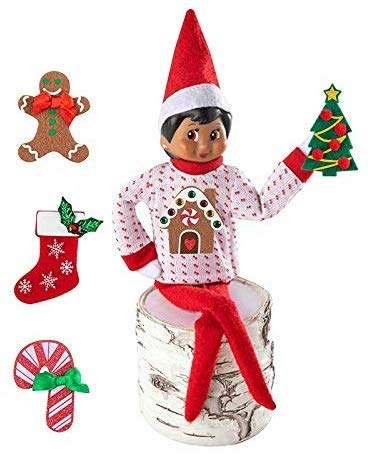 The Elf on the Shelf Boy Sweater Set - One Sweater with 5 Attachable Decals - Dress Your Elf 5 Different Ways (Elf On The Shelf Clothes For Elves)