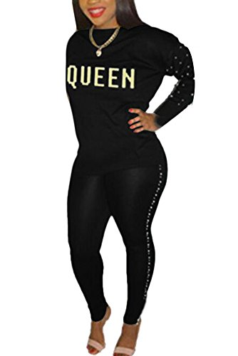 Women 2 Piece Outfits Tracksuit Mock Neck Rivet Sweatshirt and Skinny Long Pants Set Sweatsuit Black (Mock Neck Set)