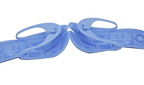 Pantoufles De Spa Hommes De Taureau Heureux Pliable Pour Voyage Massage De Plage (plis) Bleu