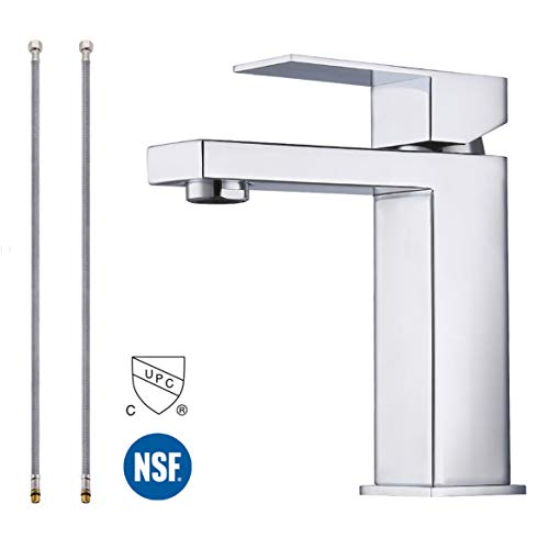 (KES Modern Bathroom Faucet Single Handle Vanity Sink Faucet SUS 304 Stainless Steel Rust Free, Polished Chrome Finish L3156ALF-CH )