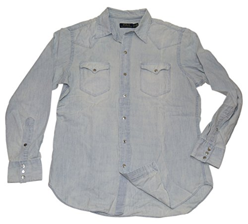 Ralph Lauren Polo Mens Western Chambray Denim Jean Snap Button Shirt Blue Large