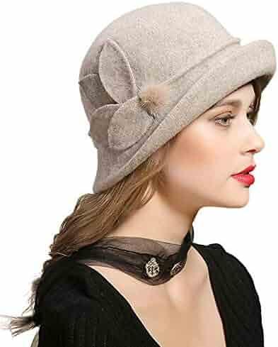 21d0042f306 FADVES Winter Wool Hats Vintage Fedora Hat Cloche Bowler Elegant Church Cap  Fur