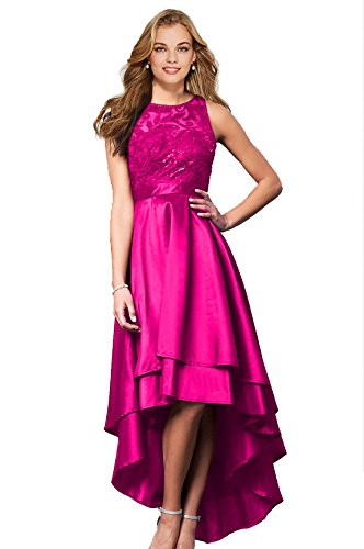 Lily Wedding Womens Halter High Low Prom Dresses 2018 Long Formal Evening Ball Gowns D76 Rose Red Size 2