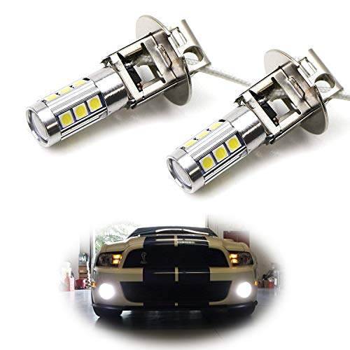 iJDMTOY (2) 6500K HID Xenon White 13-SMD H3 LED Replacement Bulbs For Car Fog Lights Driving Lamps