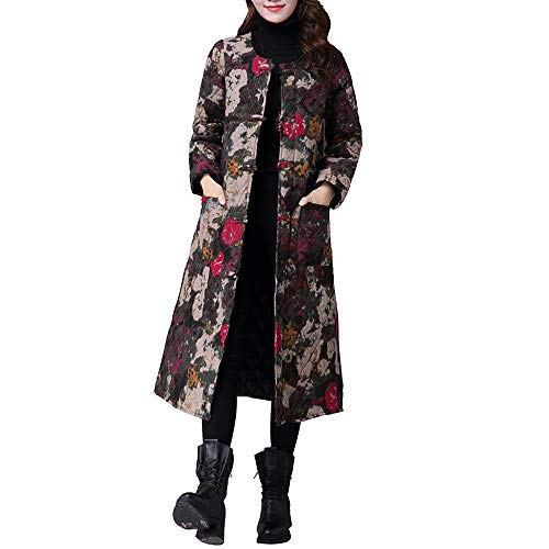 BETTERUU Women Plus Size Winter Coat Folk-Custom Cotton-Padded Printing Splicing Jacket from BETTERUU