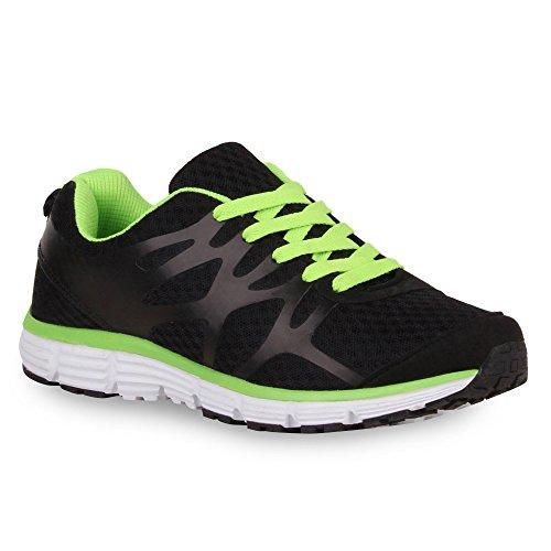 Stiefelparadies Damen Laufschuhe Sportschuhe Metallic Sneaker Low Glitzer Schuhe Profilsohle Lack Runners Trainers Neon Sneakers Turnschuhe Flandell Schwarz Neongrün