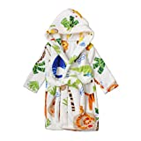 Toddlers/kids Hooded Terry Robe Fleece Bathrobe Children's Pajamas Sleepwear (3T, Zoo)