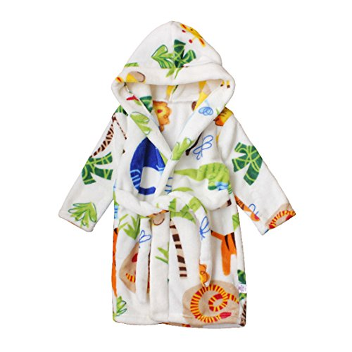 Toddlers/kids Hooded Terry Robe Fleece Bathrobe Children's Pajamas Sleepwear (4T, Zoo) (Toddler Girl Robe)