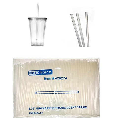 250 COUNT E & D Creations Drink & Toss HEAVY Plastic 5.75-inch Clear Translucent Cocktail Beverage Stirrer Straw (Clear Cocktail)