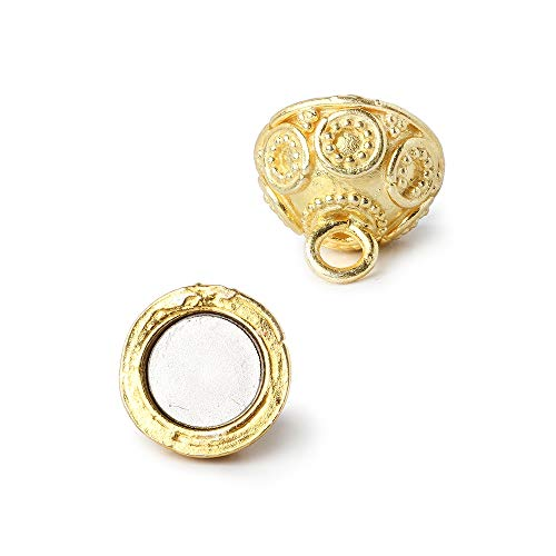12mm Vermeil Magnetic Clasp with Granulated Bali Design 1 Piece ()