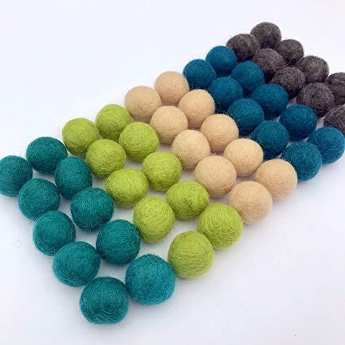 Wildflower by Hu Hands 100% Handmade Wool Felt Pom Poms - Island Cove - (50) Pure New Zealand Wool Felt Balls - DIY Pompoms - 0.8-1.0