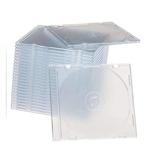 Maxtek Ultra Thin 5.2mm Slim Clear CD Jewel Case with Built in Frost Clear Tray, 100 Pack. - Clear Jewel Tray Case