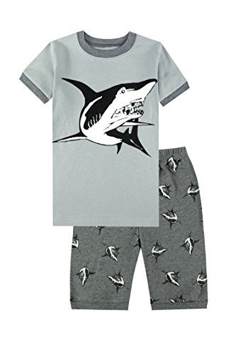 Boys Short Pj (PHOEBE CAT Shark Boys Pajamas Big Kids Shorts Set 100% Cotton Sleepwear Toddler PJS 8T)