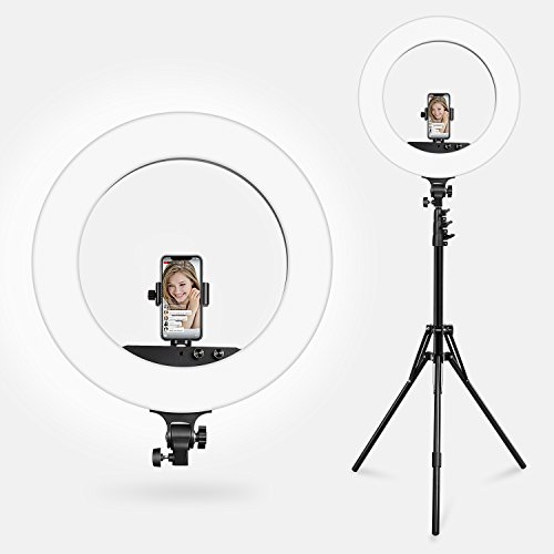 Ring Light, ESDDI 18'' 100W LED Dimmable Ring Light, Adjustable Color Temperature 3200K-5800K, Stand Phone Holder, Hot Shoe Adapter for Portrait YouTube Video, Vlog and Makeup by ESDDI