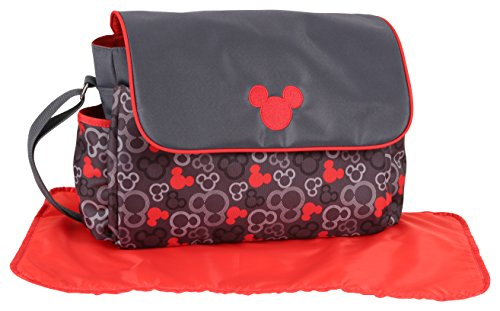 Mickey Mouse Diaper (Disney Mickey Mouse Diaper Bag with Flap, Icon Print, Grey/Red)