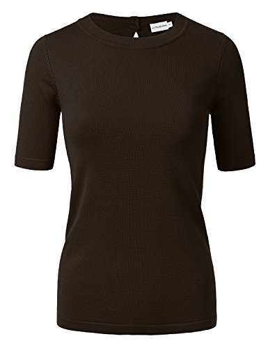 JJ Perfection Women's Short Sleeve Back Keyhole Closure Knitted Sweater Top Brown M