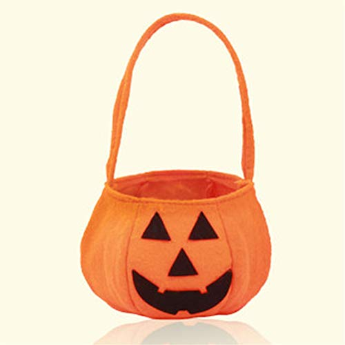 RUJFISH Halloween Pumpkin Boo Trick Or Treat Portable Candy Bag Tote Bucket Basket Kids Play -
