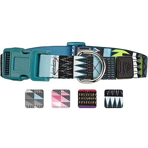 Friends Forever Dog Collar with Pattern Design Nylon Adjustable (Small, Tribal Teal) (Dog Nylon Puppy Collar)