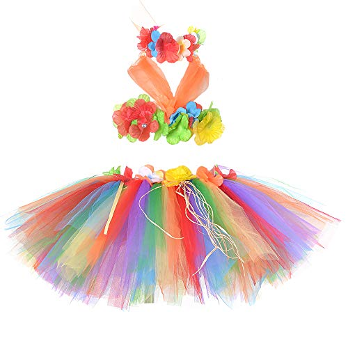(Girls Hawaiian Hula Tutu Skirts Set Party Decorations Free)