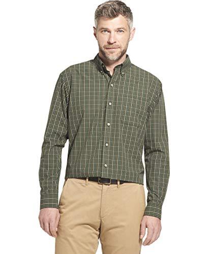 Arrow 1851 Men's Hamilton Poplins Long Sleeve Button Down Plaid Shirt, Deep Rosin, Large (Arrow Green Dress Shirt)