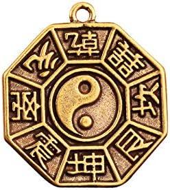 YOPDNE Colgante de Llavero de la Marca de chismes de latón Puro para Hombres y Mujeres, decoración portátil, latón, Marca de Buda, Colgante de Amuleto de Tai Chi