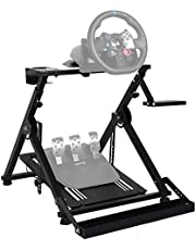 Minneer Steering Racing Wheel Stand With pulley chair fixing device for Logitech Fanatec Thrustmaster Clubsport Foldable & Tilt-Adjustable & fixed with wheels racing chair office chair. Racing Console,Wheel,Shifter and Pedals NOT Included