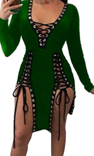 Comfy V Women Hem Cross Dresses neck Green Club Straps Irregular Decorated BxBrdHqI