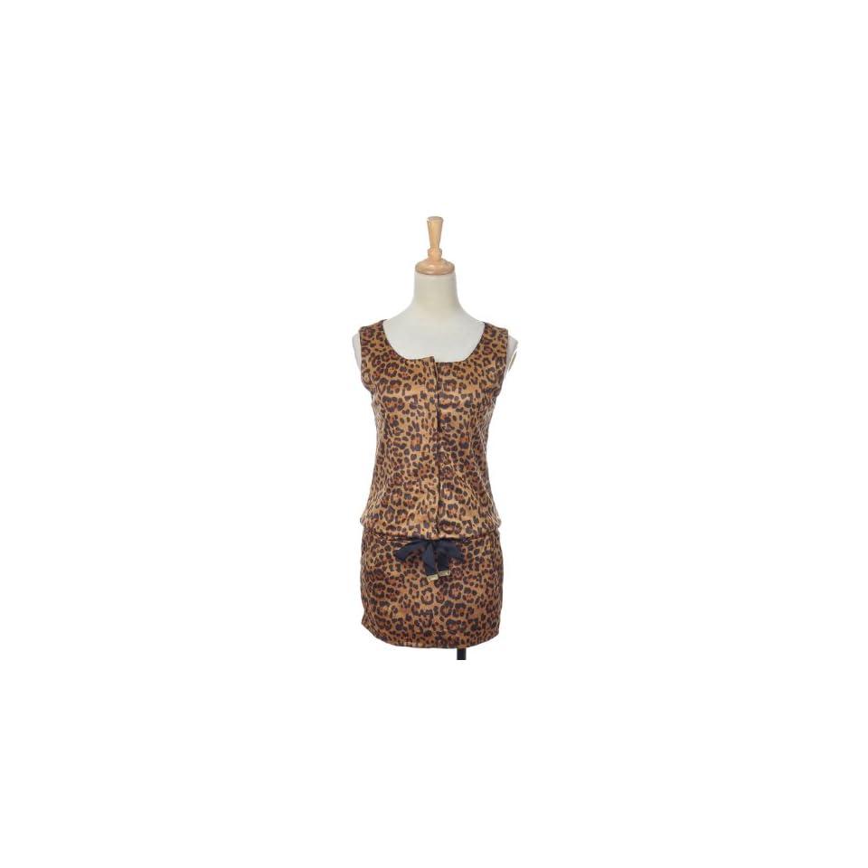 Anna Kaci S/M Fit Brown Leopard Print Button Up Chest Drawstring Casual Dress