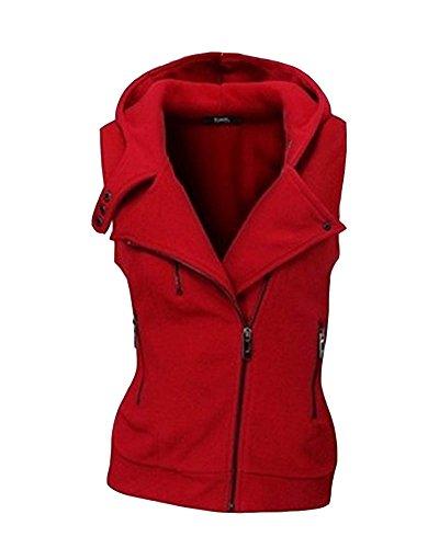 Rouge Manches Gilet Unie Femme Chaud sans Vest Couleur Tops Hoodie Zipper OvOSIxq