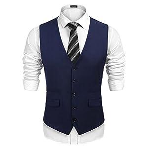 Best Epic Trends 41dhTgwh2ML._SS300_ COOFANDY Men's Business Suit Vest,Slim Fit Skinny Wedding Waistcoat