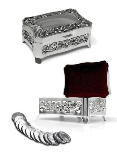 Stunning Silver Arras Box with Flowers and arras coins, Arras de (Arras Box)