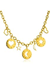 Goldtone Moon and Stars Charms with a 16.75 Inch Link Necklace