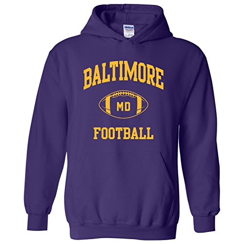 - Baltimore Classic Football Arch American Football Team Sports Hoodie - Large - Purple