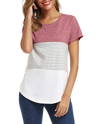 LATWIIV Women's Color Block Tshirts Blouse Short Sleeve Casual Tee Shirts Tunic Tops Red S