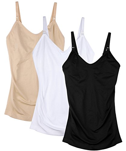 Daisity Womens Maternity Nursing Tank Cami for Breastfeeding with Adjustable Straps Pack of 3 Color Black Nude White Size XL (Stylish Cup Support Soft Bra)