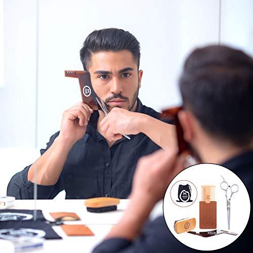 HongsMarket Beard Grooming & Trimming Kit (4-Pc. Set) Beech Wood Brush w/Boar Bristles, Pearwood Comb, Stainless-Steel Scissors, Shaper Template | Mustache, Facial Hair