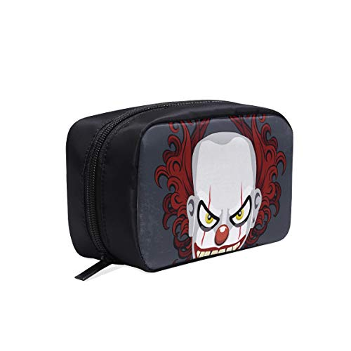 Evil Scary Clown Monster Portable Travel Makeup Cosmetic Bags Organizer Multifunction Case Small Toiletry Bags For Women And Men Brushes -