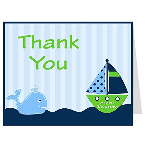 Nautical Thank You Cards, Baby Shower, Stripes, Boys, Navy, Blue, Green, Sprinkle, Birthday, Whale, Ship, Sailboat, 50 Printed Folding Notes with White Envelopes, Ahoy It's a Boy (Green Whale) - Stripes Boy Note