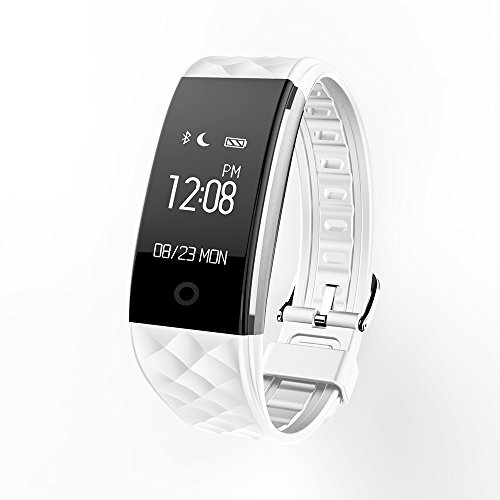 Keoker S2 Wristband Heart Rate Monitor Bluetooth Smart Band Fitness Tracker Smart Bracelet for Android iOS (White)